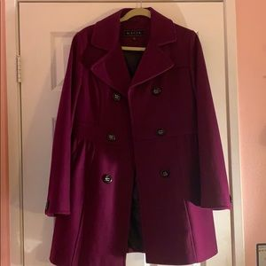 Maroon Button up Trench Coat